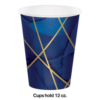 Navy Blue And Gold Foil Paper Cups, Pack Of 8 Party Decoration