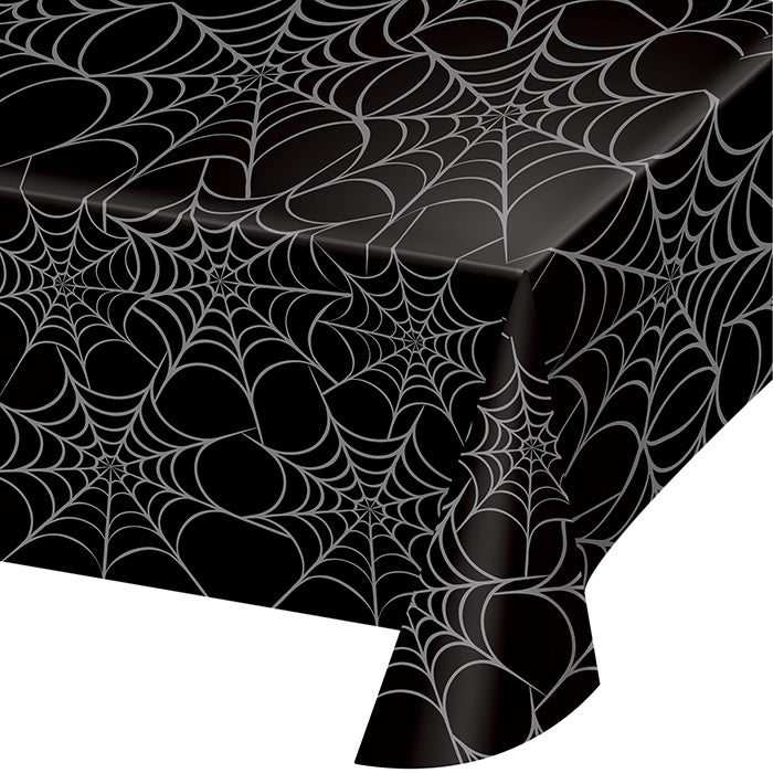 Silver Web Plastic Tablecloth by Creative Converting