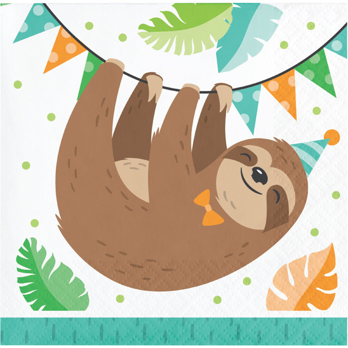 Sloth Party Beverage Napkins, Pack Of 16 by Creative Converting