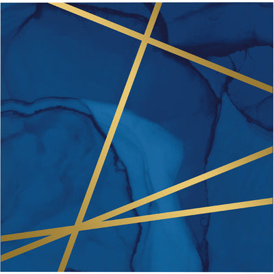 Navy Blue And Gold Foil Beverage Napkins, Pack Of 16 by Creative Converting