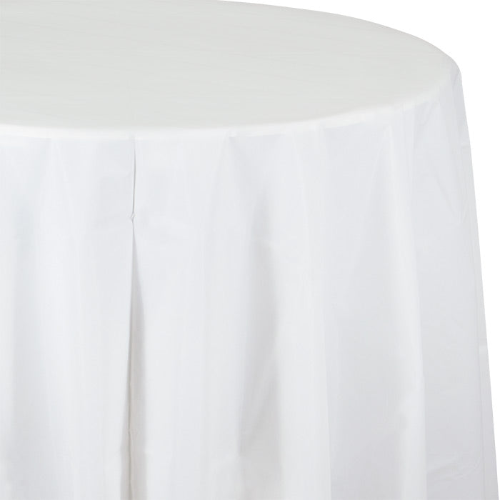 "White Tablecover, Octy Round 82"" Plastic by Creative Converting"