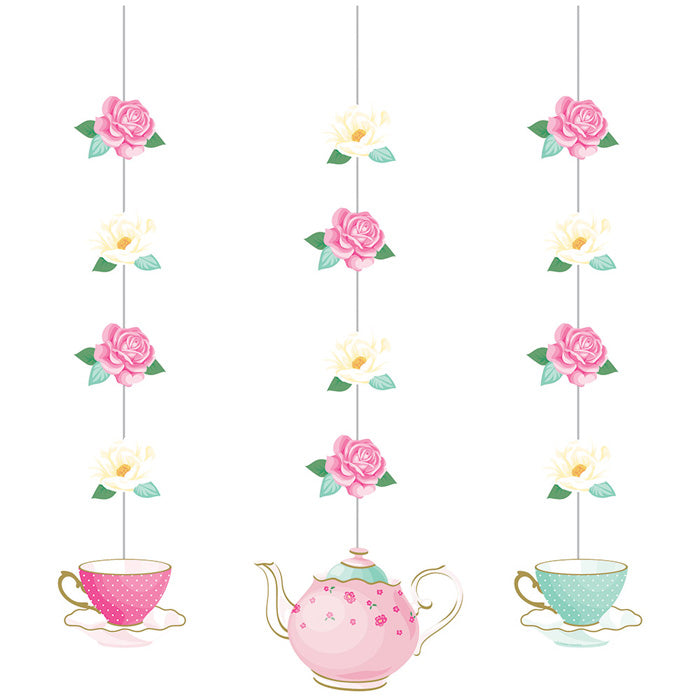 Floral Tea Party Hanging Cutouts, 3 ct by Creative Converting