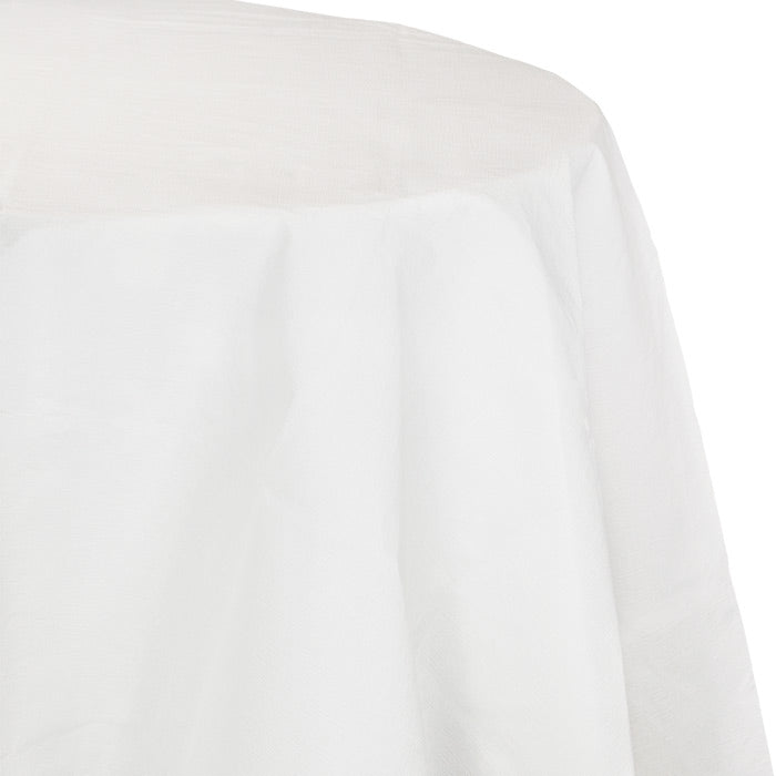 "White Tablecover, Octy Round 82"" Polylined Tissue by Creative Converting"