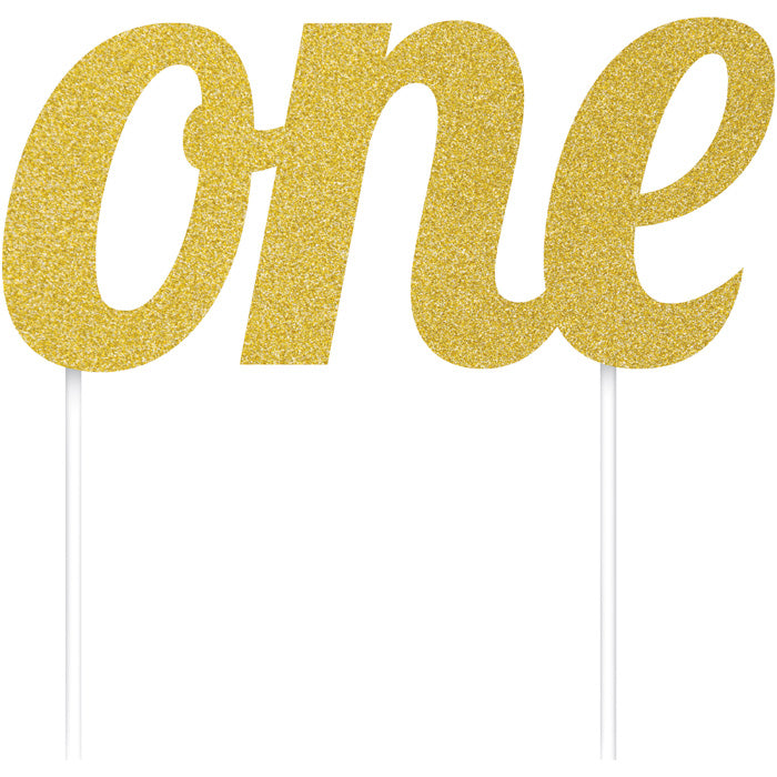 "Gold ""One"" Birthday Cake Topper by Creative Converting"