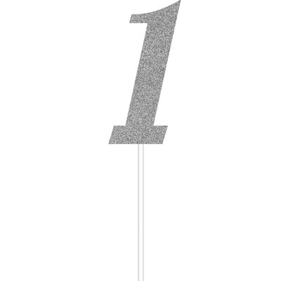 Silver Number One Cake Topper by Creative Converting