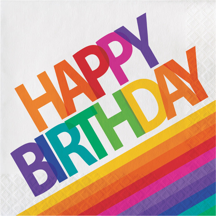 Rainbow Birthday Napkins, 16 ct by Creative Converting
