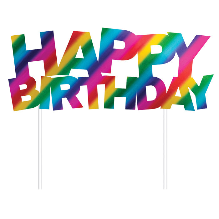 Rainbow Foil Happy Birthday Cake Topper by Creative Converting