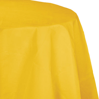"School Bus Yellow Tablecover, Octy Round 82"" Polylined Tissue by Creative Converting"