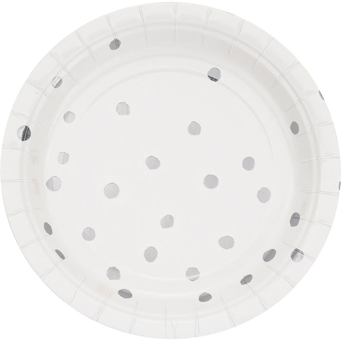 White And Silver Foil Dot Dessert Plates, 8 ct by Creative Converting