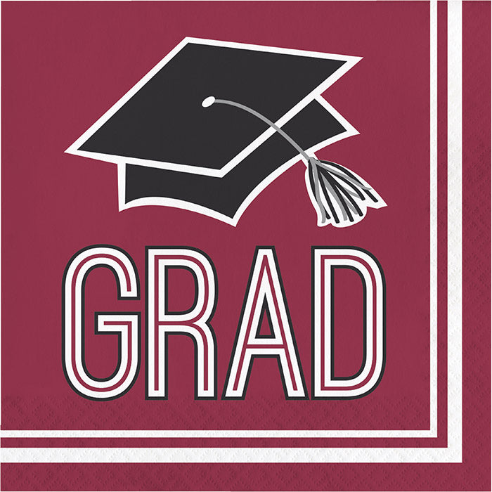 Graduation School Spirit Burgundy Red Napkins, 36 ct by Creative Converting