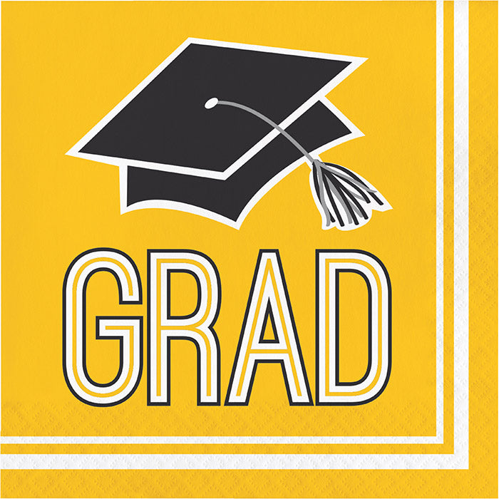 Graduation School Spirit Yellow Napkins, 36 ct by Creative Converting