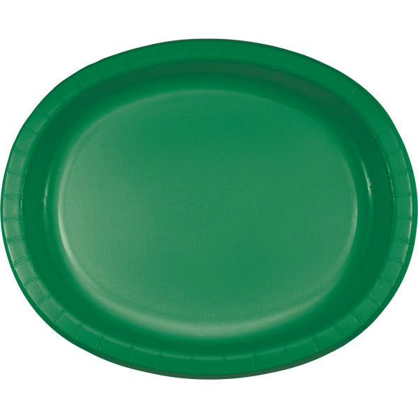 "Emerald Green Oval Platter 10"" X 12"", 8 ct by Creative Converting"