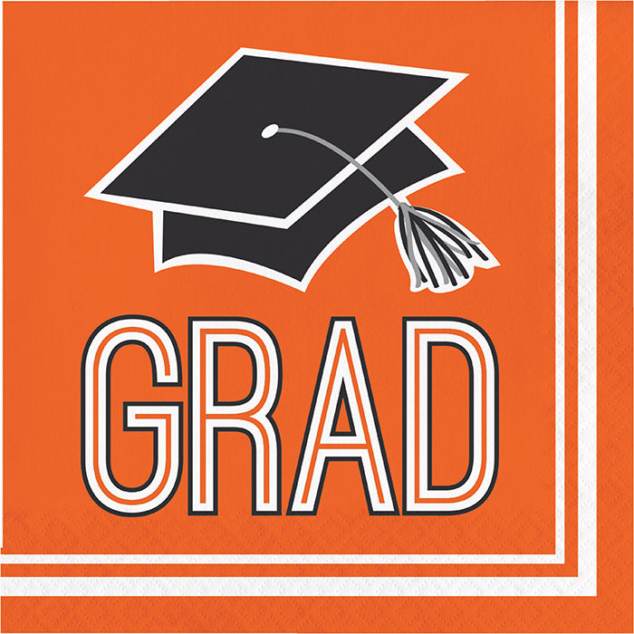 Graduation School Spirit Orange Napkins, 36 ct by Creative Converting