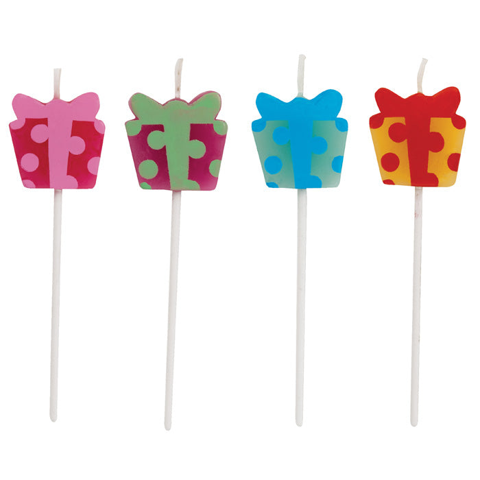 Present Shaped Pick Candles, 4 ct by Creative Converting