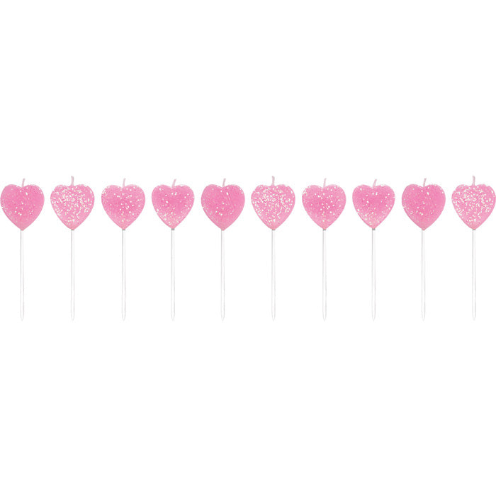 Heart Shaped Pink Candles, 10 ct by Creative Converting