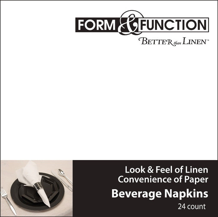 Form & Function - White Beverage Napkin Airlaid, 24 ct by Creative Converting
