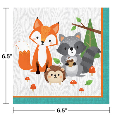 Wild One Woodland Animals Napkins, Pack Of 16 Party Decoration