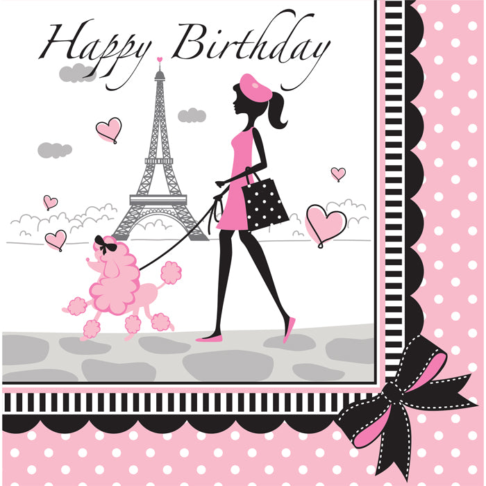Party In Paris Birthday Napkins, 18 ct by Creative Converting