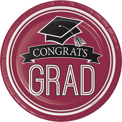 Graduation School Spirit Burgundy Red Dessert Plates, 18 ct by Creative Converting
