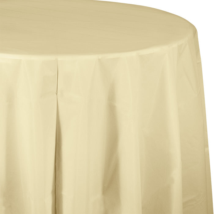 "Ivory Tablecover, Octy Round 82"" Plastic by Creative Converting"