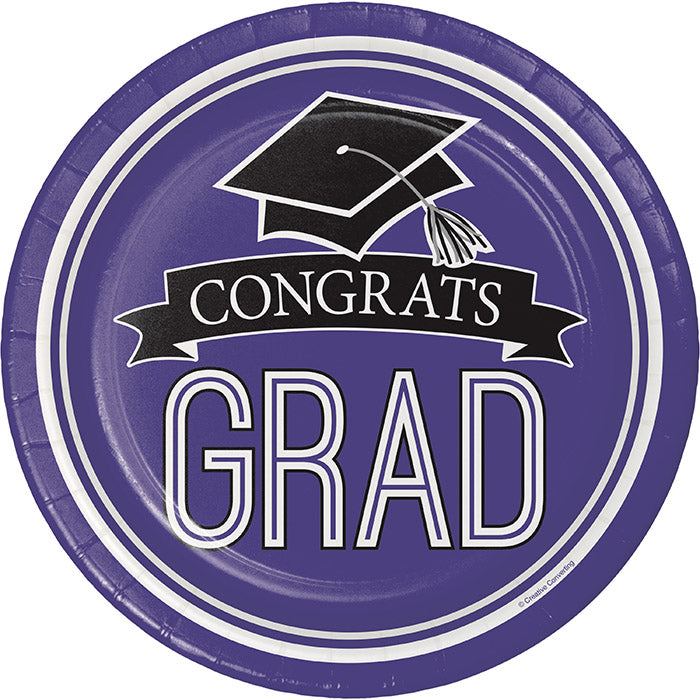 Graduation School Spirit Purple Dessert Plates, 18 ct by Creative Converting