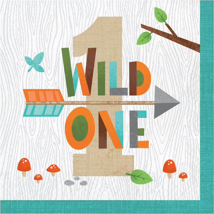 Wild One Woodland Napkins, Pack Of 16 by Creative Converting