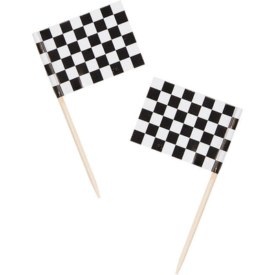 "Race Picks, Flag 2 1/2"" Black & White Check, 50 ct by Creative Converting"
