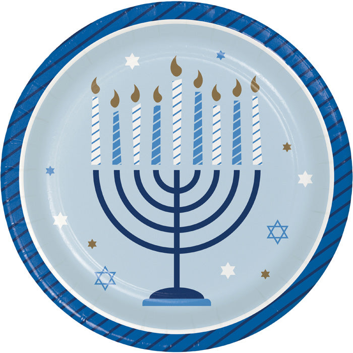 Hanukkah Celebration Dessert Party Plates 8 ct - Hanukkah Party Supplies