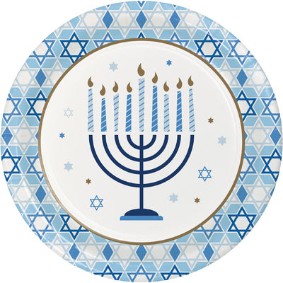 Hanukkah Celebration Dinner Party Plates 8 ct - Hanukkah Party Supplies