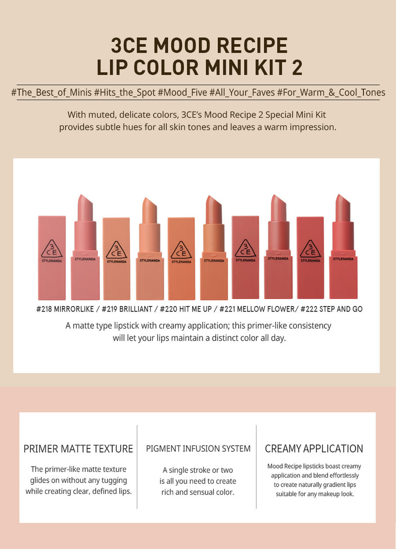 3CE MOOD RECIPE LIP COLOR MINI KIT 2 - Goryeo Cosmetics worldwide shop
