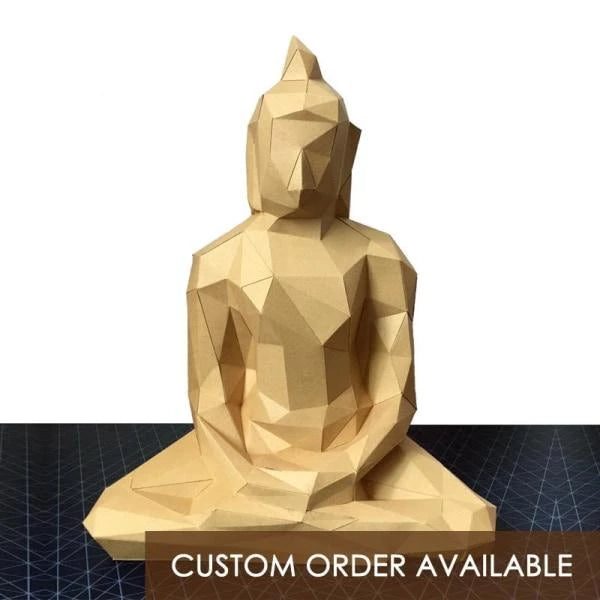 Buddha low polygon paper craft statue - Goryeo Cosmetics worldwide shop