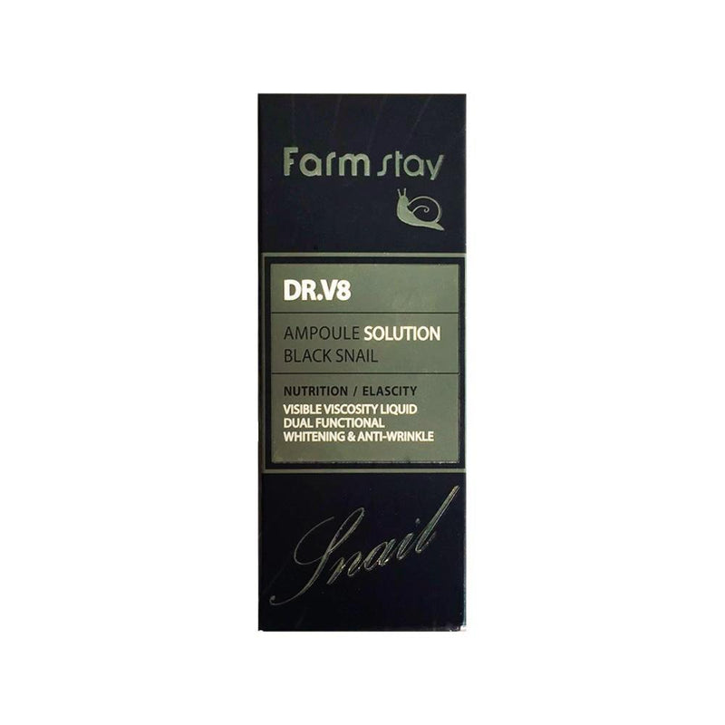 Farm Stay DR. V8 Ampoule Solution Black Snail 30ml - Goryeo Cosmetics worldwide shop