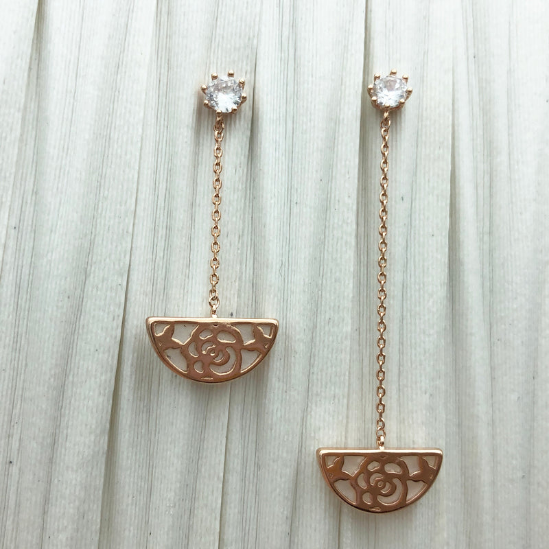 Korean Style Half Moon Shaped Asymmetrical Earrings Drop Earrings - Goryeo Cosmetics worldwide shop