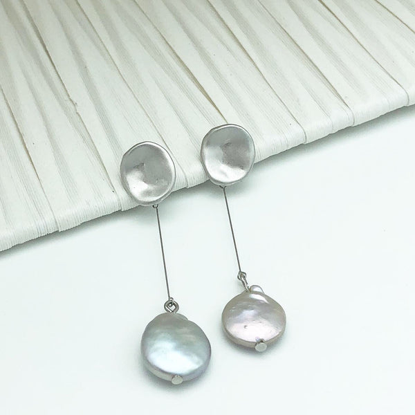 Korean style Silver drop earrings