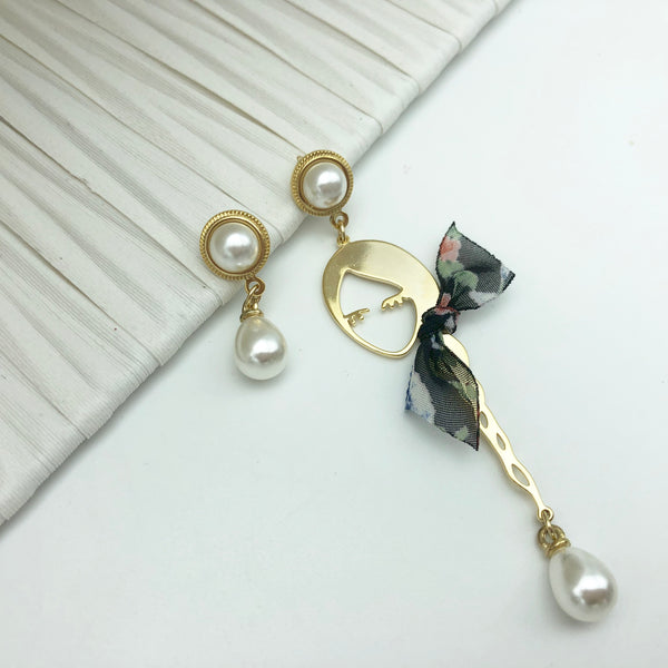 korean girl silver pin earrings