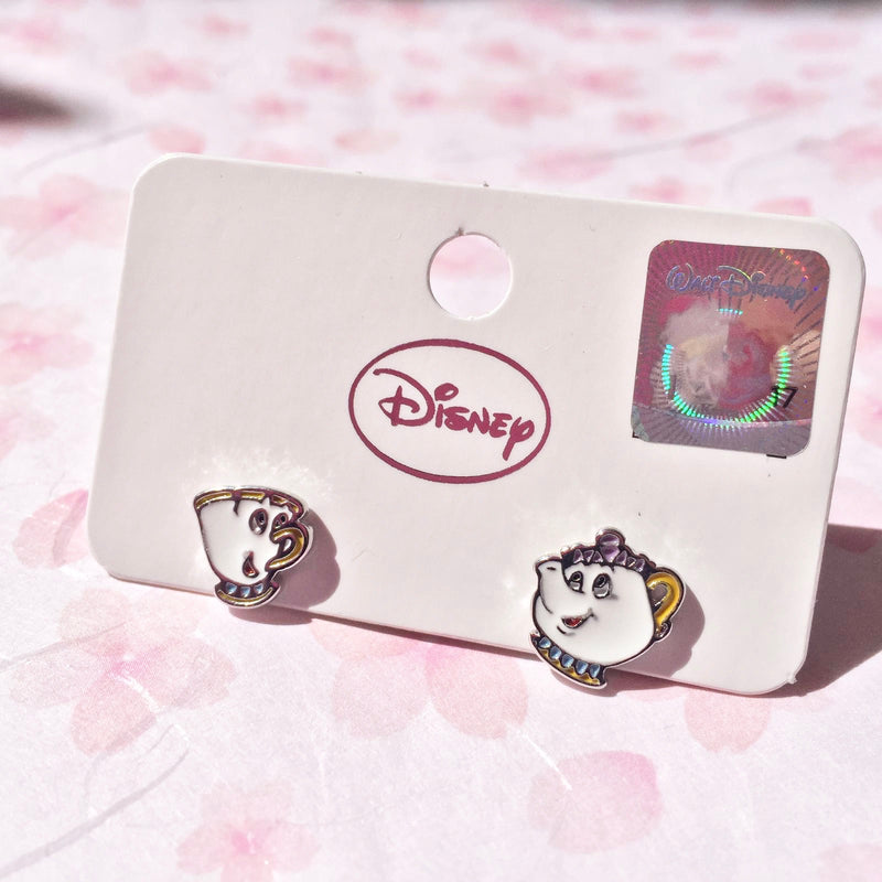 Korean style asymmetrical Disney earrings Chip and Mrs. Potts - Goryeo Cosmetics worldwide shop