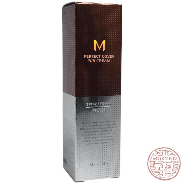 MISSHA M Perfect Cover BB Cream, No. 21 Light Beige, 50 ml - Goryeo Cosmetics worldwide shop