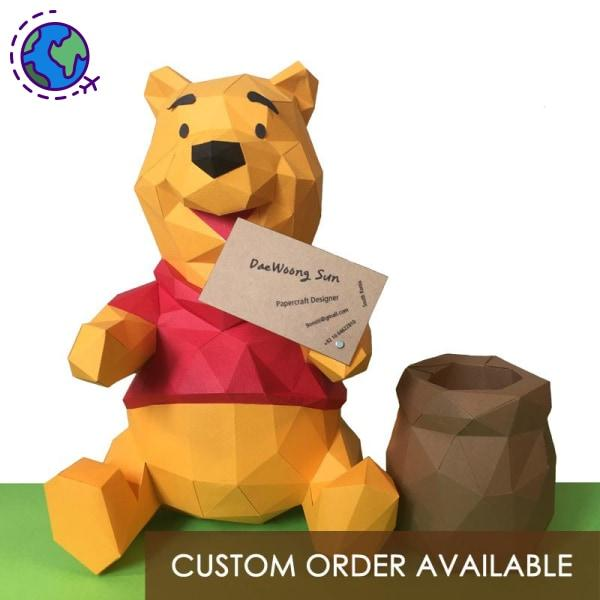 Winnie-the-Pooh low polygon paper craft statue - Goryeo Cosmetics worldwide shop