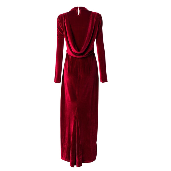 CURBSIDE PICK-UP Ruby Velour Draped Gown