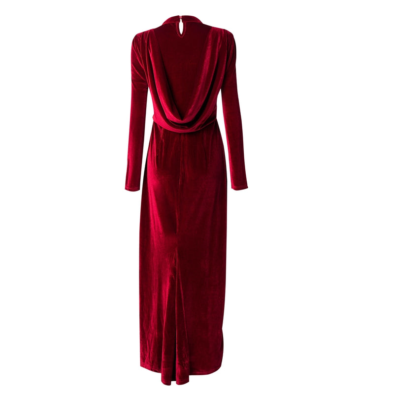 Ruby Velour Draped Gown