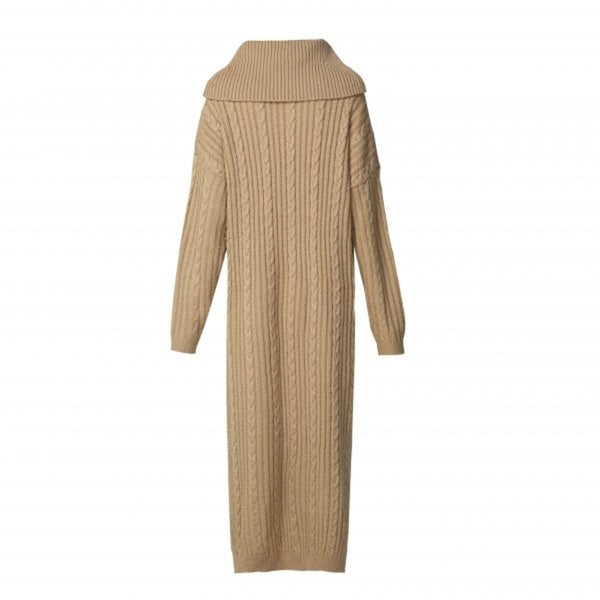 CURBSIDE PICK-UP Camel Cable Knit Jumper Midi