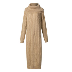 Camel Cable Knit Jumper Midi