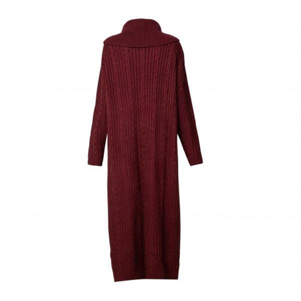 CURBSIDE PICK-UP Oxblood Cable Knit Jumper Midi