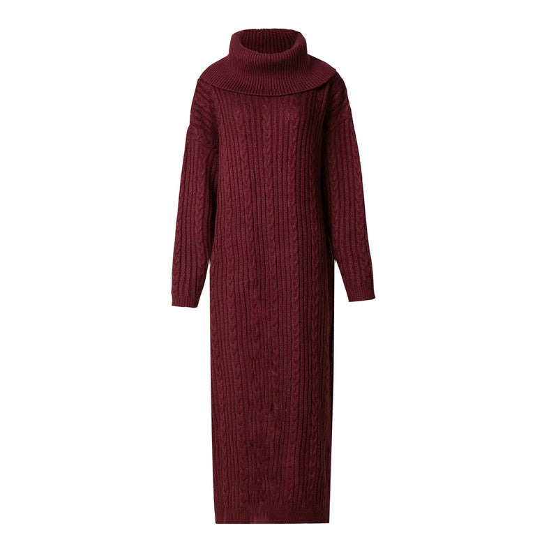 Oxblood Cable Knit Jumper Midi