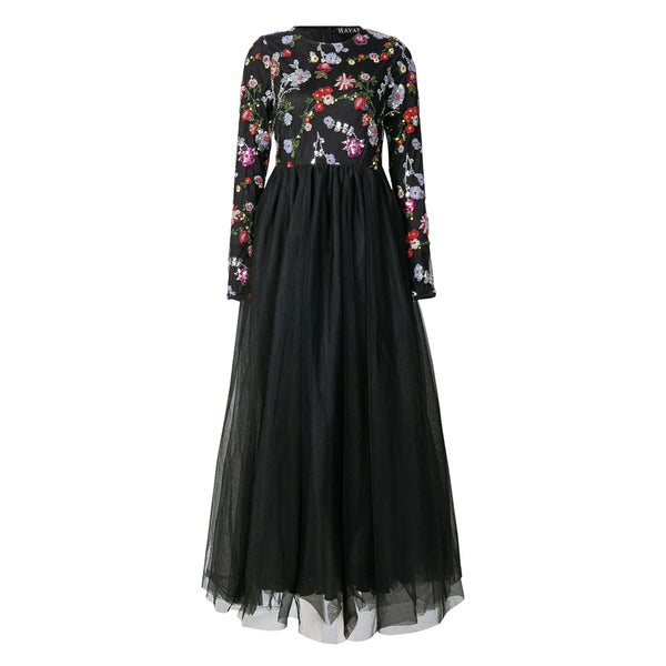 CURBSIDE PICK-UP Black Floral Sequin Ballgown