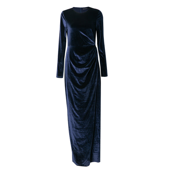 Navy Velour Wrap Dress