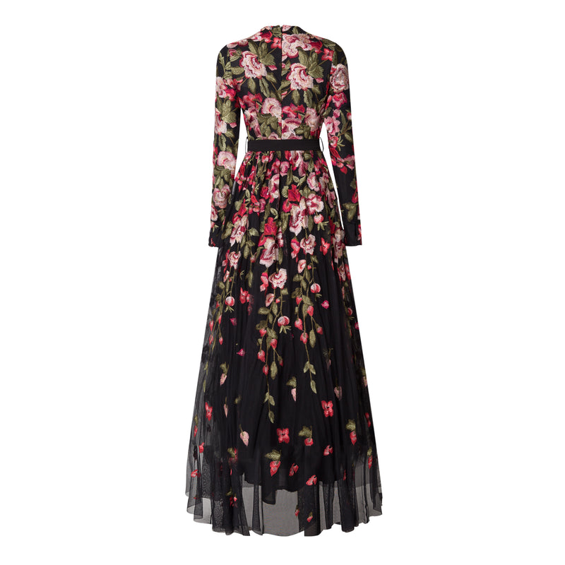 Black Floral Embroidery Tulle Gown