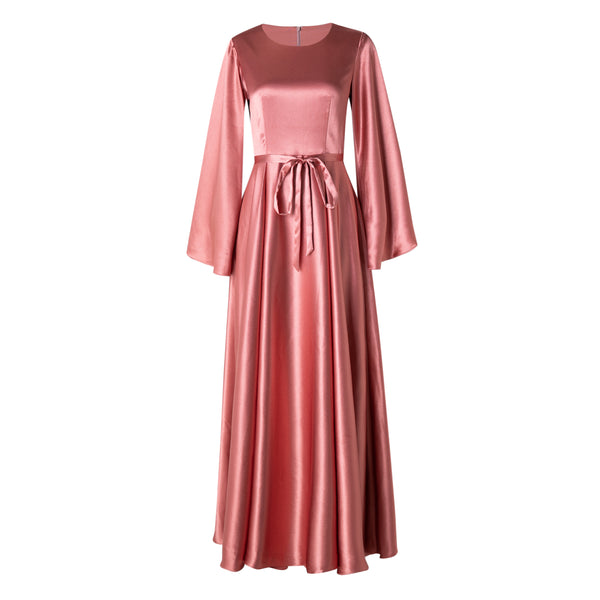 CURBSIDE PICK-UP Dusty Coral Satin Kimono Gown
