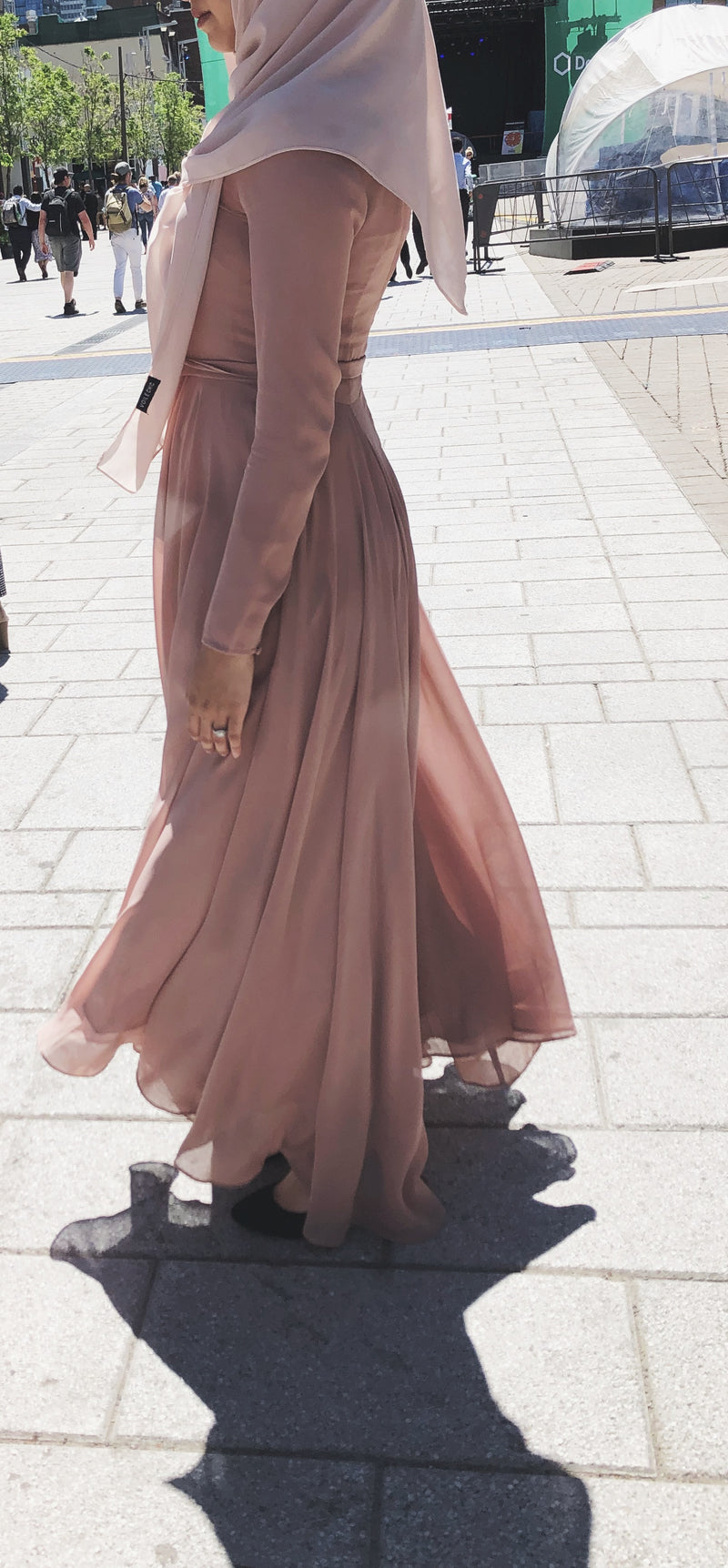 CURBSIDE PICK-UP Kashmiri Pink Chiffon Gown