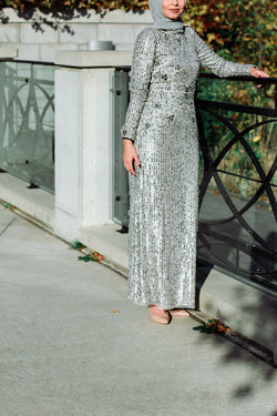 Metallic Sequin Gown